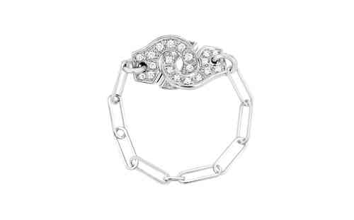 Menottes 18K White Gold Chain Ring With Diamond