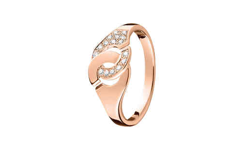 Menottes R8 18K Rose Gold Ring With 1/2 Diamond