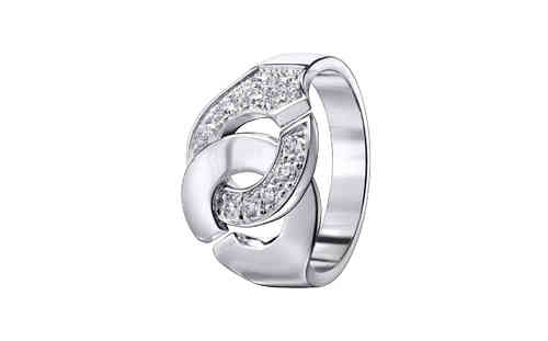 Menottes R12 18K White Gold Ring Half Diamond