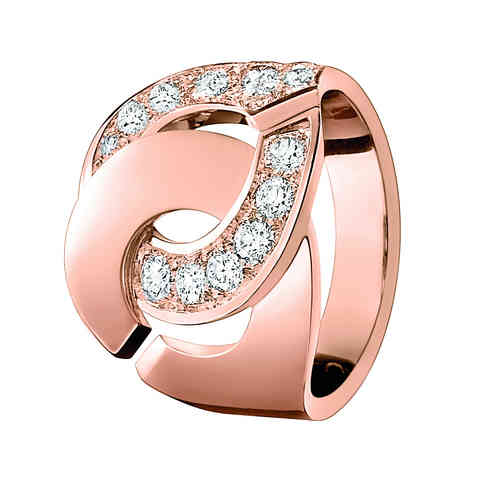 Menottes R16 18K Rose Gold Ring With Half Diamond