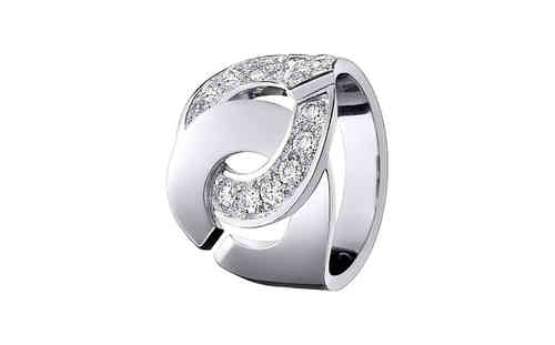 Menottes R16 18K White Gold Ring With Half Diamond