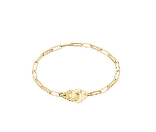 Menottes R8 18K Yellow Gold Bracelet On Chain