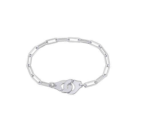 Menottes R8 18K White Gold Bracelet On Chain