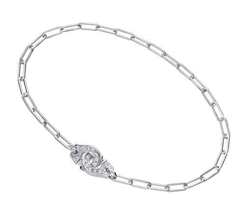 Menottes R8 18K White Gold Bracelet On Chain With Diamonds