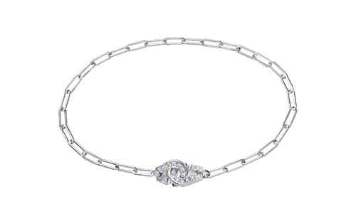 Menottes R10 18K White Gold Bracelet On Chain With Diamond