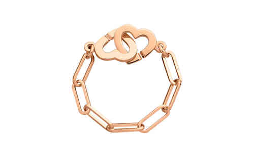 Double Heart R7 18K Rose Gold Chain Ring