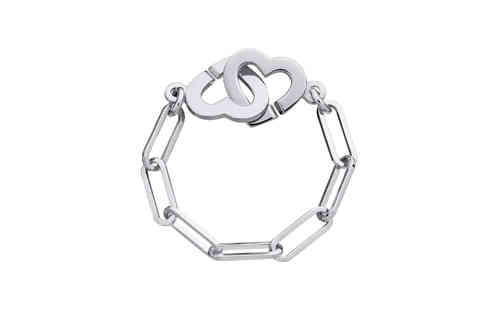 Double Heart R7 18K White Gold Chain Ring
