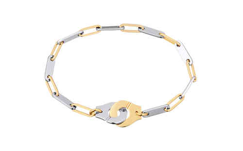 Menottes R12 18K Yellow Gold and Steel Bracelet On Chain, 12mm