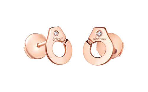 Menottes R8 Rose Gold Studs With Two Diamonds