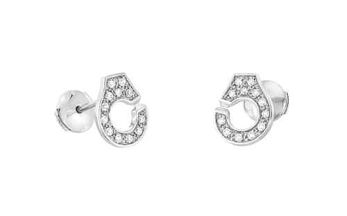 Menottes R8 18K White Gold Stud With Pave Diamonds