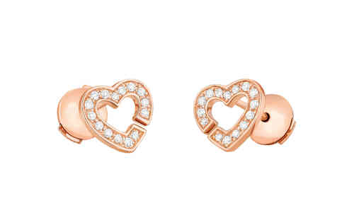 Double Heart R8 18K Rose Gold Studs