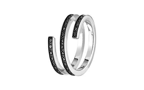 Spirale 18K White Gold Ring With Black Diamond