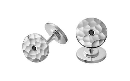 Chinese Pi 13mm Silver Cufflinks With Two Black Diamonds